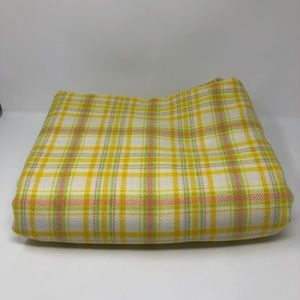 Large Fabric Piece Scrap Yellow Pink Green Plaid